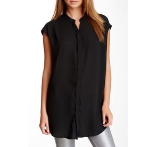Everleigh Button Front Cuffed Cap Sleeves Tunic